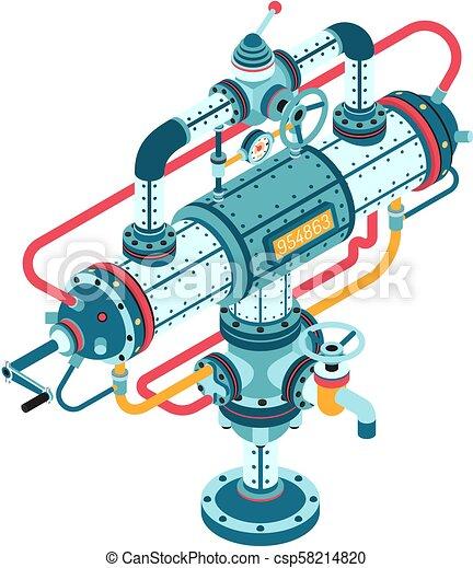 gép, fantasztikus, ipari, csövek, elkészített - csp58214820