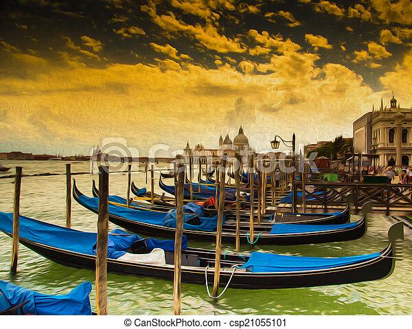 Gondolas en Venecia, pintura al óleo. - csp21055101