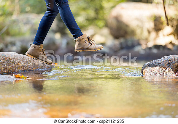 góra, kobieta, młody, hiking - csp21121235
