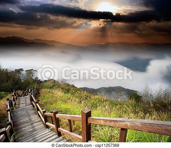 góra, zdumiewający, wschód słońca - csp11257369