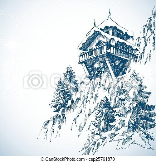 góra, zima drzewo, sosna, barak, las, krajobraz - csp25761870