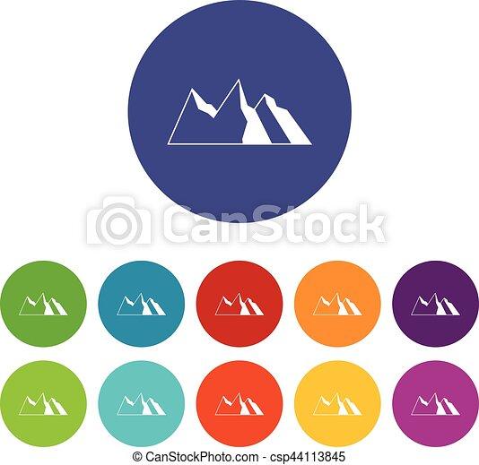 góry, komplet, ikony - csp44113845