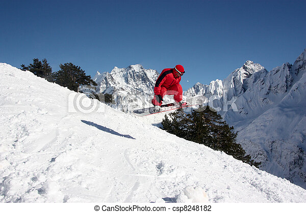 góry, przelotny, snowboarder - csp8248182