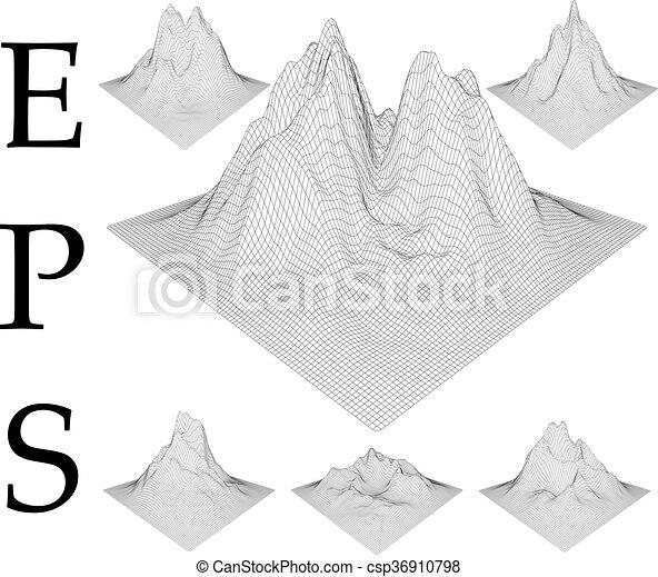 góry, set., wireframe - csp36910798