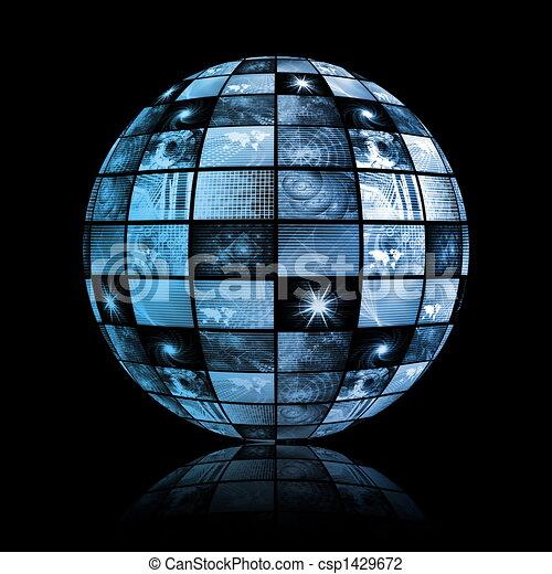 gömb, globális, technológia, világ, média - csp1429672