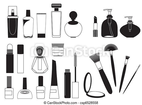 göra, kosmetisk, kollektion, uppe, produkter, vit, .vector - csp6528558