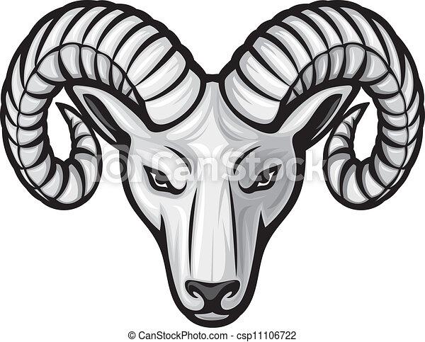 głowa, baran, (ram, head) - csp11106722