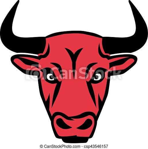 głowa, czerwony, byk - csp43546157