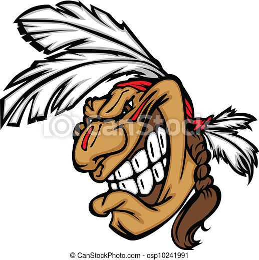 głowa, odważny, indianin, szczerzenie zębów, wektor, rysunek, maskotka - csp10241991