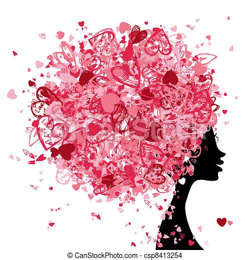 głowa, robiony, fryzura, malutki, projektować, samica, serca, twój - csp8413254