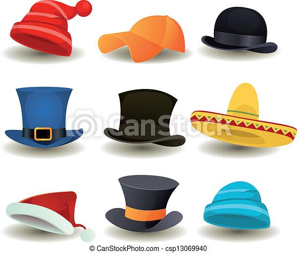 głowa wystawiają, czapki, górny, inny, nosić, kapelusze - csp13069940