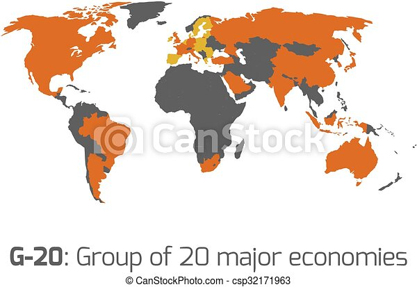 G 20 member states world map g 20 or group of major clip art g 20 member states world map csp32171963 gumiabroncs Image collections