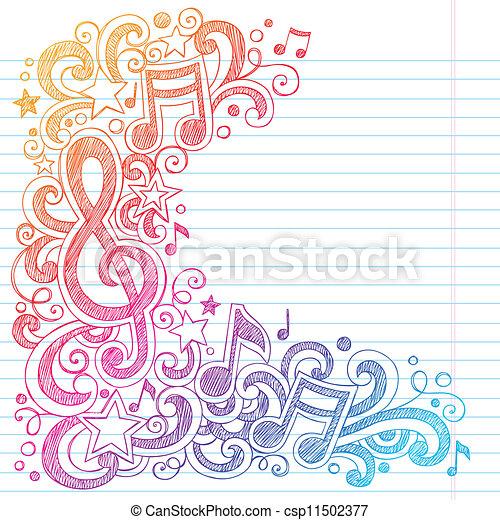 g, notas, sketchy, música, doodles, clef - csp11502377