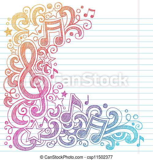 g, note, sketchy, musica, doodles, chiave - csp11502377