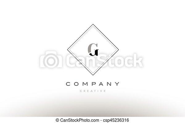 G Retro Vintage Black White Alphabet Letter Logo G Retro Vintage