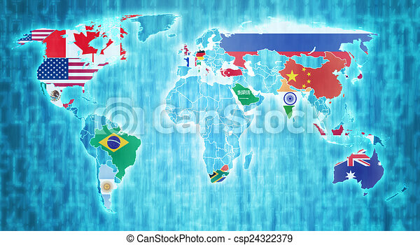 G20 countries on world map group of twenty country flags on g20 countries on world map csp24322379 gumiabroncs Image collections