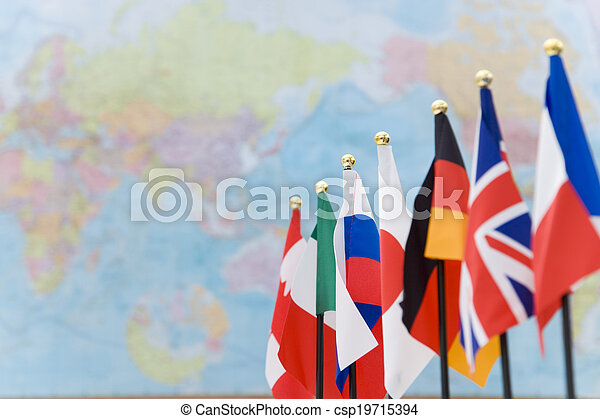 g7, térkép, globális, zászlók, országok - csp19715394