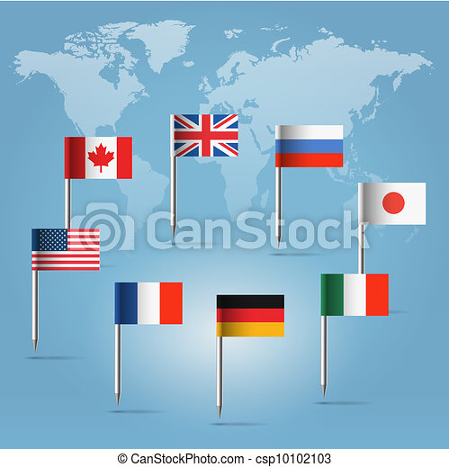 G8 flag pins over world map silhouette glossy beautiful pin flags g8 flag pins over world map silhouette csp10102103 gumiabroncs Image collections
