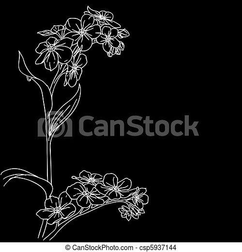 gałązka, kwitnąc, orchidee, konserwator - csp5937144