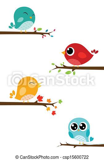 gałęzie, ptaszki, posiedzenie - csp15600722