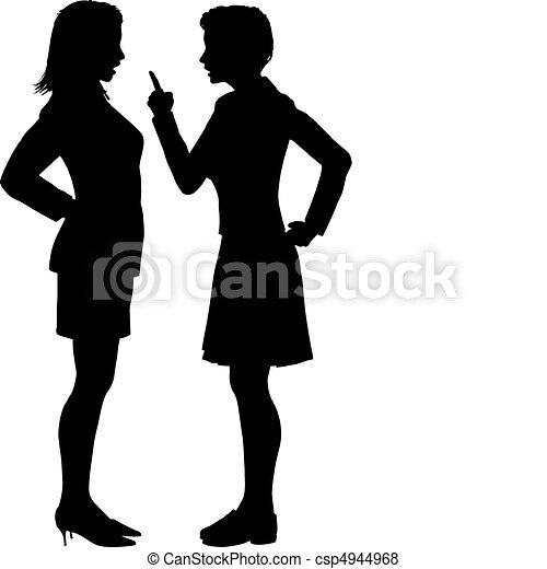 gaan niet akkoord, argument, vechten, schreeuwen, praatje, vrouwen - csp4944968