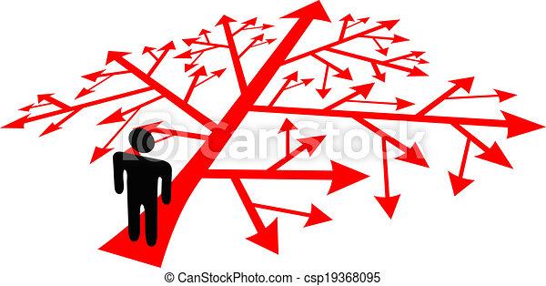 gaan, persoon, beslissing, gecompliceerd, steegjes - csp19368095