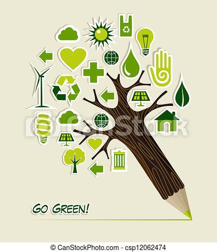 gaan, potlood, groen boom, iconen - csp12062474