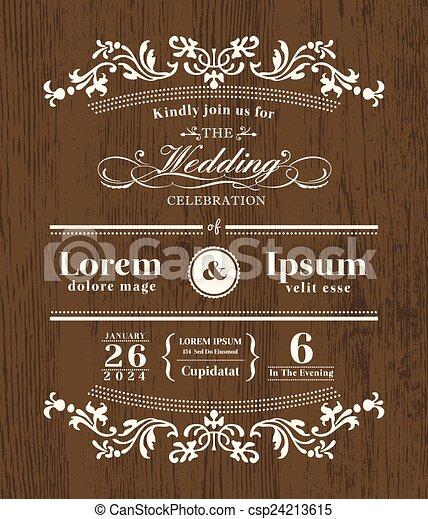 gabarit, bois, vendange, invitation, typographie, conception, fond, mariage - csp24213615