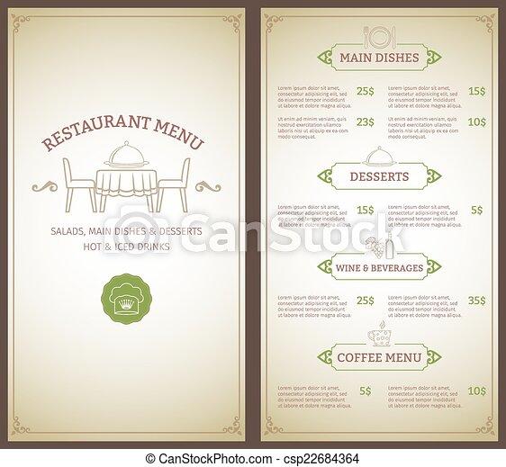 gabarit menu, restaurant - csp22684364