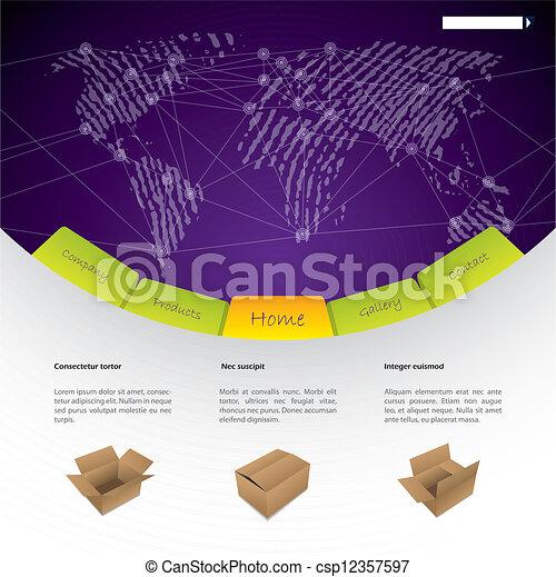 gabarit, mondial, expédition, site web, conception - csp12357597