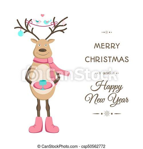 gabarit, renne, joyeux, sourire, noël carte - csp50562772