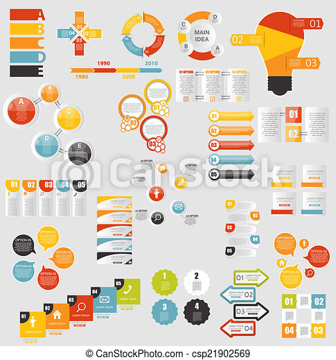 gabarits, plat, mega, business, vecto, collection, infographic - csp21902569