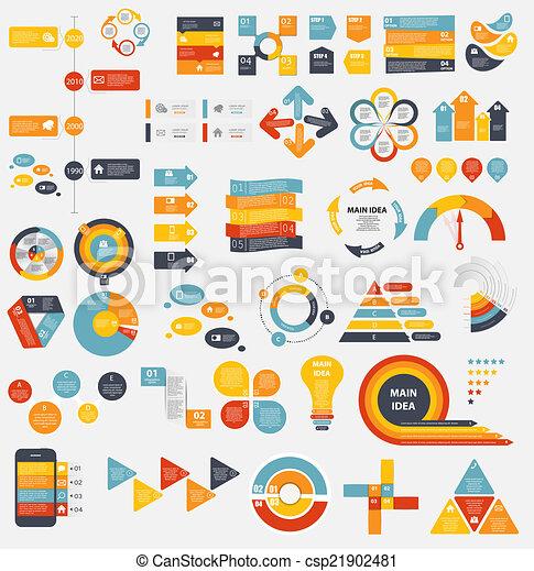 gabarits, plat, mega, business, vecto, collection, infographic - csp21902481
