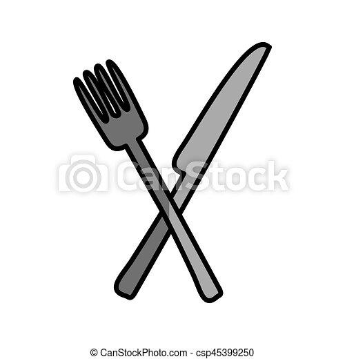 Messer und gabel clipart  Clipart Vektor von gabel, freigestellt, besteck, ikone, messer ...