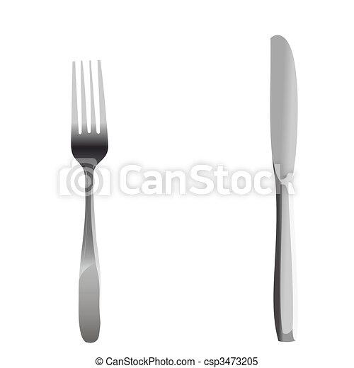 Messer und gabel clipart  Clipart Vektor von gabel, realistisch, satz, messer, abbildung ...