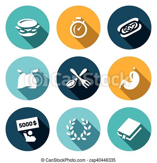 Vector Set von Speed-Essen Wettbewerb Icons. Burger, Stoppuhr, Burrito, Esser, Gabel und Löffel, Magen, Gewinner, Ruhm, Buch. - csp40446335
