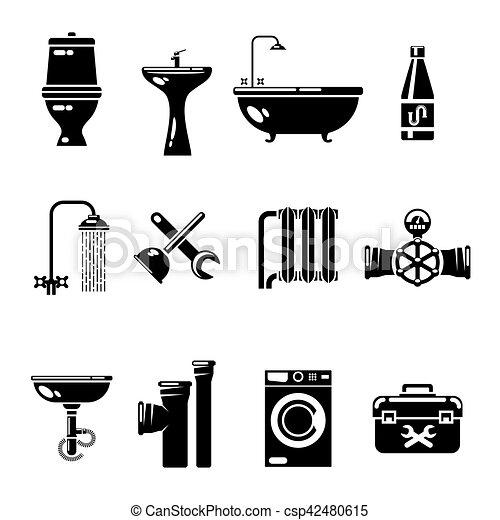 Tubo Doccia Per Lavandino.Gabinetto Doccia Acqua Icons Tubo Vettore Lavandino Simboli