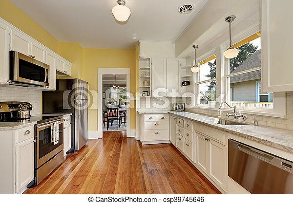 Gabinetto, pavimento, pareti gialle, legno, interno, bianco, cucina ...