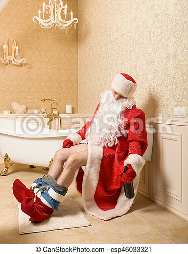 Babbo Natale Ubriaco.Gabinetto Ubriaco Babbo Natale Seduta Divertente Alcool Seduta