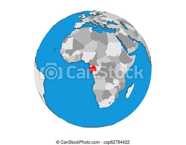 Gabon on 3D globe isolated - csp62784422