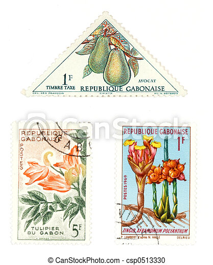 Gabon post stamps with plants - csp0513330