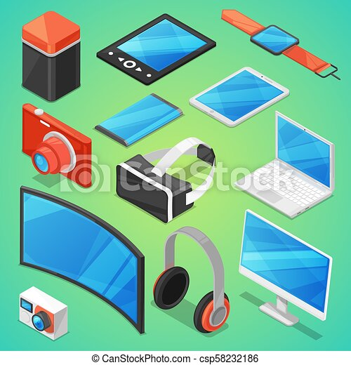 Gadget vector digital device with display of laptop or tablet and camera isometric illustration set of electronic equipment virtual headset and headphone isolated on background - csp58232186