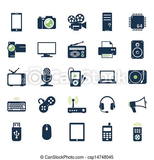gadgets, électronique, ensemble, icônes - csp14748045