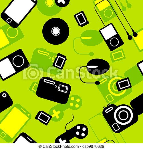 gadgets., électronique, seamless, fond, icône - csp9870629