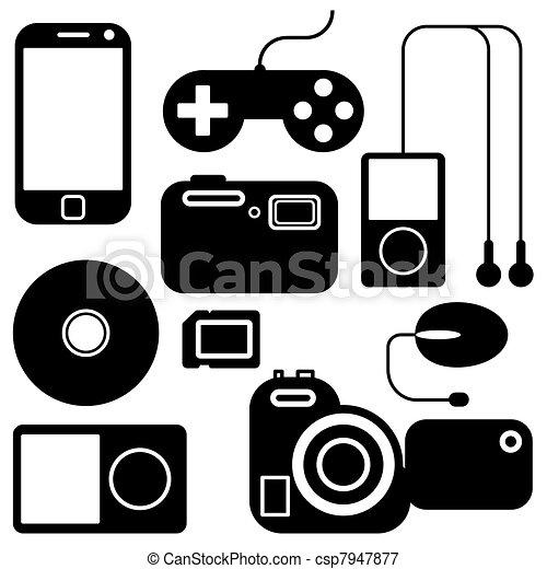 gadgets, ensemble, électronique, icône - csp7947877