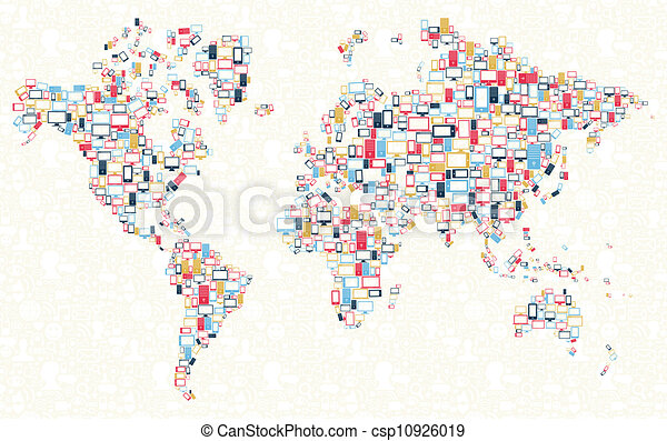 Gadgets icons world map illustration computer mobile phone gadgets icons world map illustration gumiabroncs Images