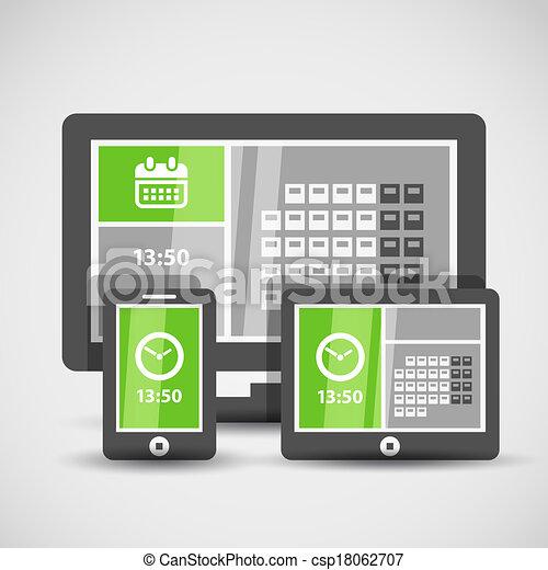 gadgets, interface, résumé, moderne, carreau - csp18062707
