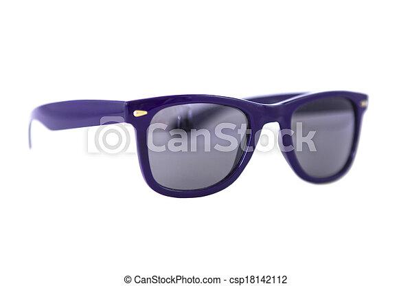 tienda último clasificado especial para zapato gafas azules, aislado, white.
