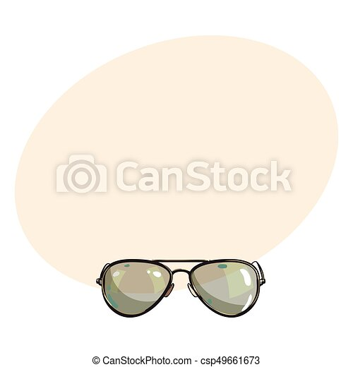 Gafas de sol, marco, metal, mano, verde, dibujado, aviador, lentes ...