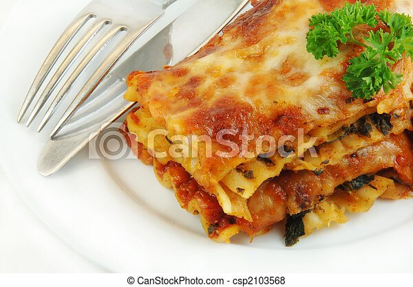 gaffel, nära, lasagne, uppe, kniv - csp2103568